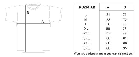 wymiary koszulek